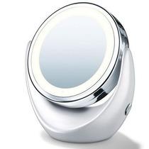 Espelho De Mesa Dupla Face Com Luz Led Normal E 5 X Aumento