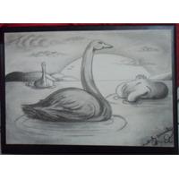 Arte A Carvão Desenho Feito A Mão Peça Unica