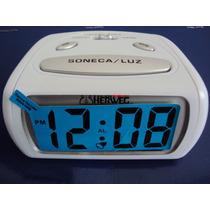 2916 - Relógio Despertador Digital Branco Luz Led Azul