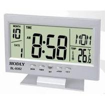 Relógio De Mesa Digital Com Despertador Iluminado Prata 8082
