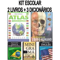 Kit Escolar 3 Dicionários Ingles Portugues + 2 Livros Atlas