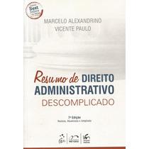 Livro Resumo De Direito Administrativo Descomplicado