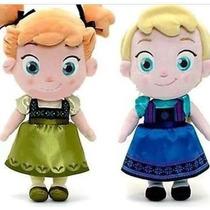 Boneca Pelúcia Elsa E Anna Baby Frozen Original Grande +dvd