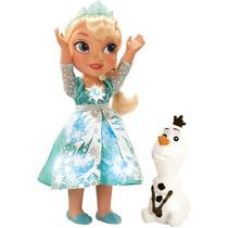 Boneca Frozen Elsa Cantante + Olaf - Neve Brilhante 1039