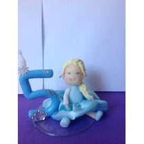 Boneca Elsa Frozen Com Vela Em Biscuit