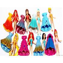 Bonecas Magic Clip Conjunto 8 Princesas Disney Com Vestido