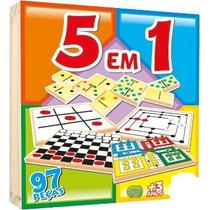 Jogo 5 Em 1, Trilha, Dama, Jogo Da Velha, Dominó E Ludo 97pc
