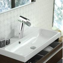 Torneira Para Banheiro Cascata Alta Com Misturador Vidro