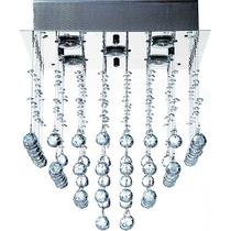 Plafon Lustre Quadrado Em Cristal K9 Para 5 Lampadas