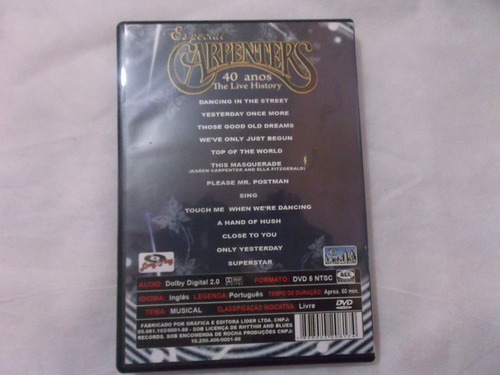 Dvd - Carpenters Especial 40 Anos The Live History