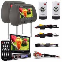 Kit Dvd Player Audioart Ar 750 Dv + Par Tela Encosto Cabeca
