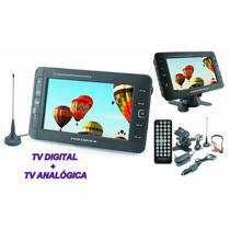 Mini Tv Tela 7 Fm Usb Sd Tv Analogica E Digital + Bateria