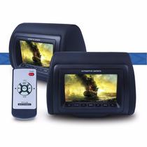 Par Encosto Cabeça Pra Carro Monitor 7 Lcd Com Controle