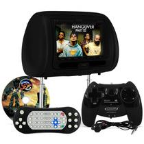 Tela Encosto Cabeça Com Dvd Monitor Lcd Preto + Game E Fone