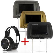 Dvd Player Tela Encosto Cabeça 7 Lcd Com Game + Fone Ouvido