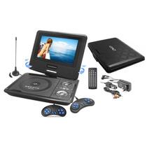 Dvd Portatil Tv 7 Tela Lcd Gira 270º Sd Usb Fm 300 Jogos