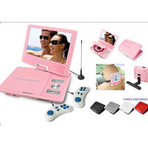 Dvd Portatil Powerpack 7 Gir. Game Suporte Banco Tv - Rosa