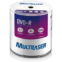 Dvd-r Multilaser 4.7gb 8x C/ Logo 100 Unid. Lacrado