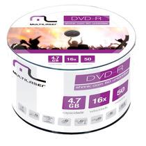 100 Midias Dvd-r Virgem Multilaser C/logo 1-16x 4.7gb 120min
