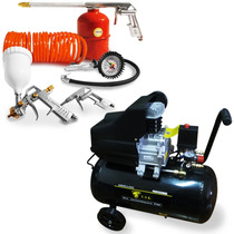 Compressor Ar 10 Pés 50l Ak-4850 + Kit Pintura 5 Pçs Kspl05