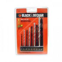 Jogo Kit 9 Brocas Metal Madeira Concreto Aço Black Decker