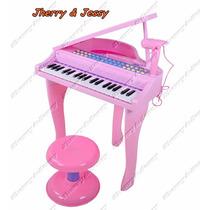 Piano Infantil Rosa De Cauda Com Mp3 Pequeno Banquinho
