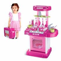 Minha Super Cozinha Portátil Rosa Infantil Luz E Som Belfix