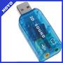 Placa De Som Usb 3d Sound 5.1 Vitual + Plug Play + Aúdio Pc