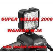 Iluminador 36 Leds W36 Wansen Com Bateria Nikon Canon Dslr