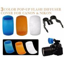 Difusor Flash Pop Up Universal 3 Cores Canon Nikon Fuji