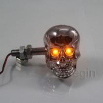 Par Setas/piscas Skull Led Custom Universal Harley Chopper