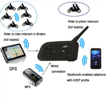 Par Intercomunicador Bluetooth P/ Capacete Moto Bt 1200m