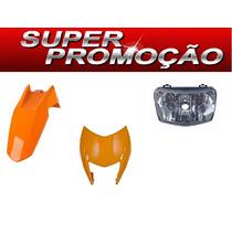 Carenagem+farol+paralama Dianteiro Bross 150 Laranja 2011/12