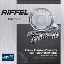 Kit Transmissão/relação Xlr 125 Riffel Aço 1045 C/ Retentor