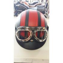 Capacete + Óculos Google Para Motos Custom Chopper Bobber