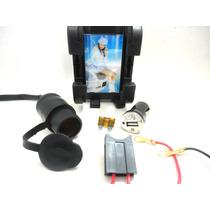 Tomada E Suporte P/12v Carregador Moto Celular Gps Universal