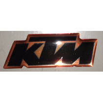 Adesivo Ktm Resinado Motos Capacete 4x1,5cm Preto/laranja