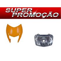 Carenagem Do Farol + Bloco Otico Nxr Bross 150 Laranja 2011