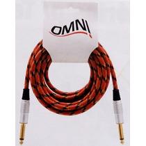Cabo Guitarra Baixo Teclado Textil P10 Mono 5 Metros Omni