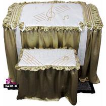 117-01 Capa P/orgão Cetim Amassado Dourado/perola (pinhais)