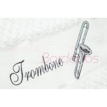 Toalha Instrumentos Musicais Trombone Bordada Músico
