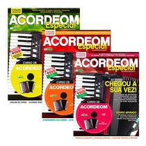 Coleção Vídeo Aula Acordeom 3 Revistas + 3 Dvds Minuano