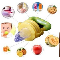 Alimentador Azul/bico Silicone C/tampa P.fruta/carne/legumes