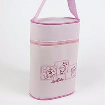 Porta Mamadeira Térmico Duplo Bordado - Rosa - Lipi Baby