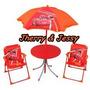 Conjunto De Mesa, Cadeira E Guarda-sol Infantil Carros 2