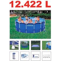 Piscina Intex 12422 Lts Estrutural Bomba Filtro Escada Capa