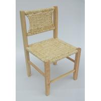 Cadeira Infantil De Madeira Em Palha De Milho - 30 X 30 X 52