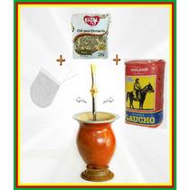Pc6-kit Chimarrão Cuia +bomba + Filtro + Erva + Chá + Manual