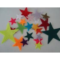 Estrela De Feltro Colorido Para Artesanato - Kit C/100 Peças