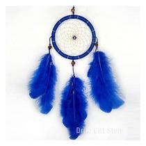Filtro Dos Sonhos Apanhador Olho Grego Pena Azul E Açai 35cm